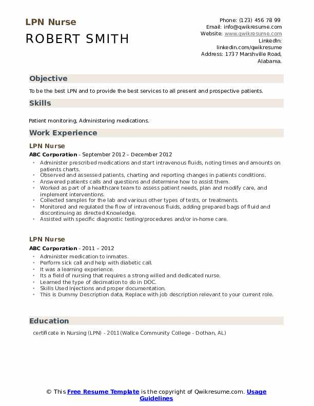 LPN Nurse Resume example