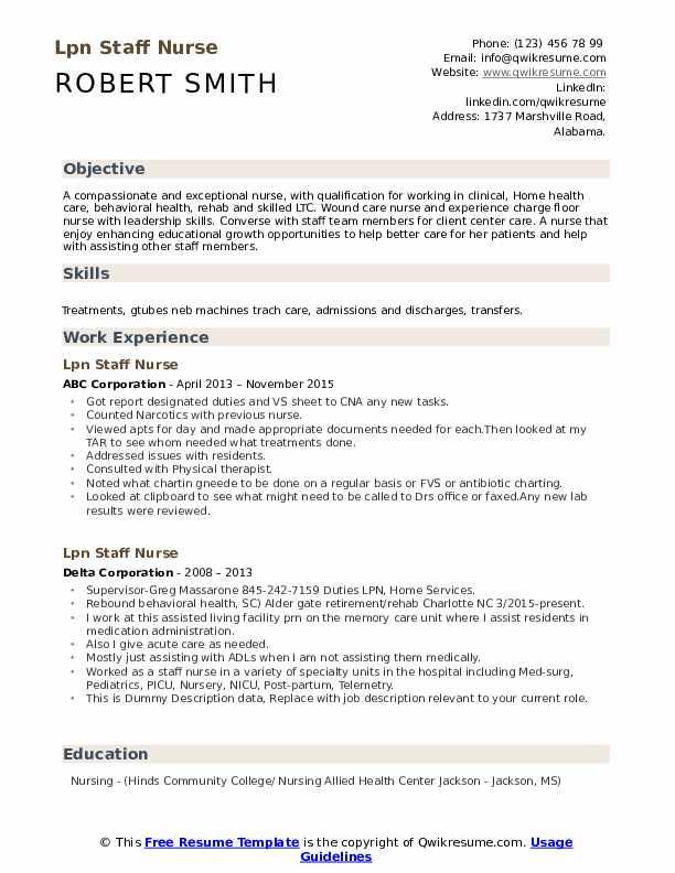 lpn staff nurse resume samples  qwikresume