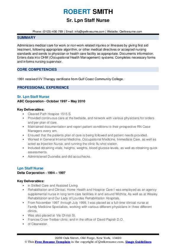 lpn staff nurse resume samples