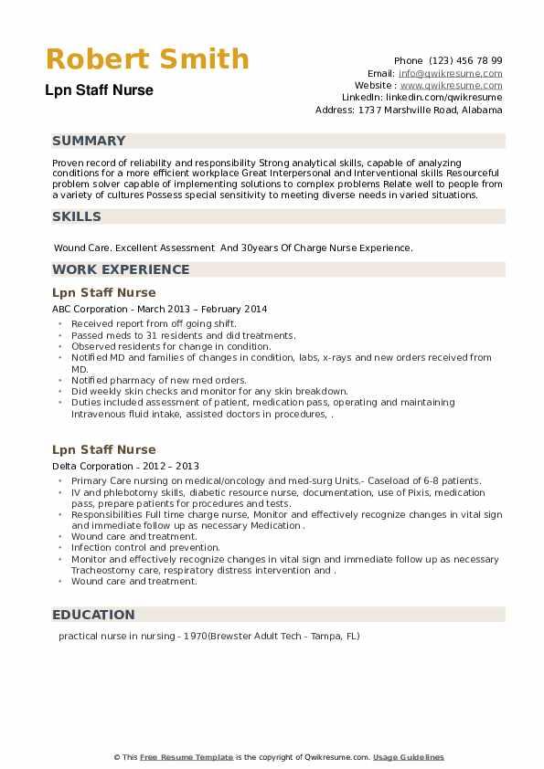 LPN Staff Nurse Resume example