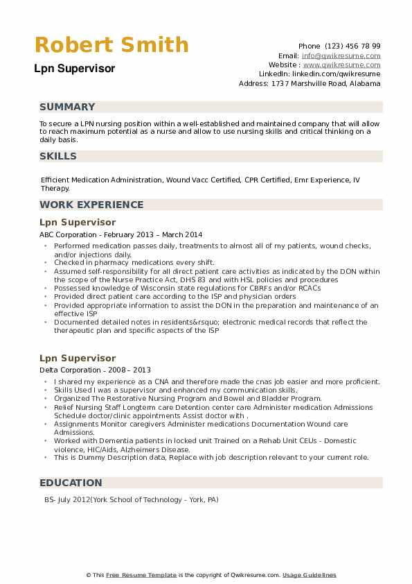LPN Supervisor Resume example