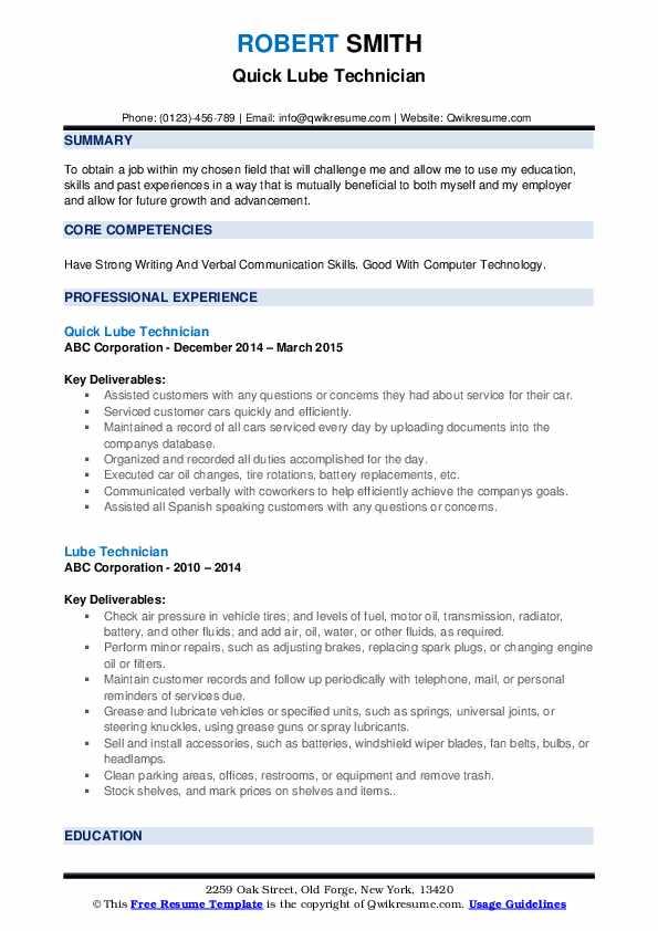 Quick Lube Technician Resume Example