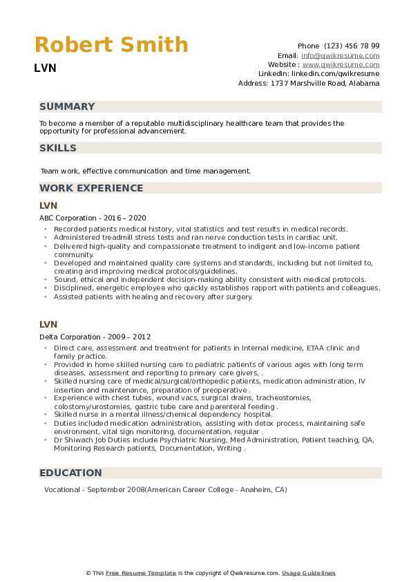 LVN Resume example