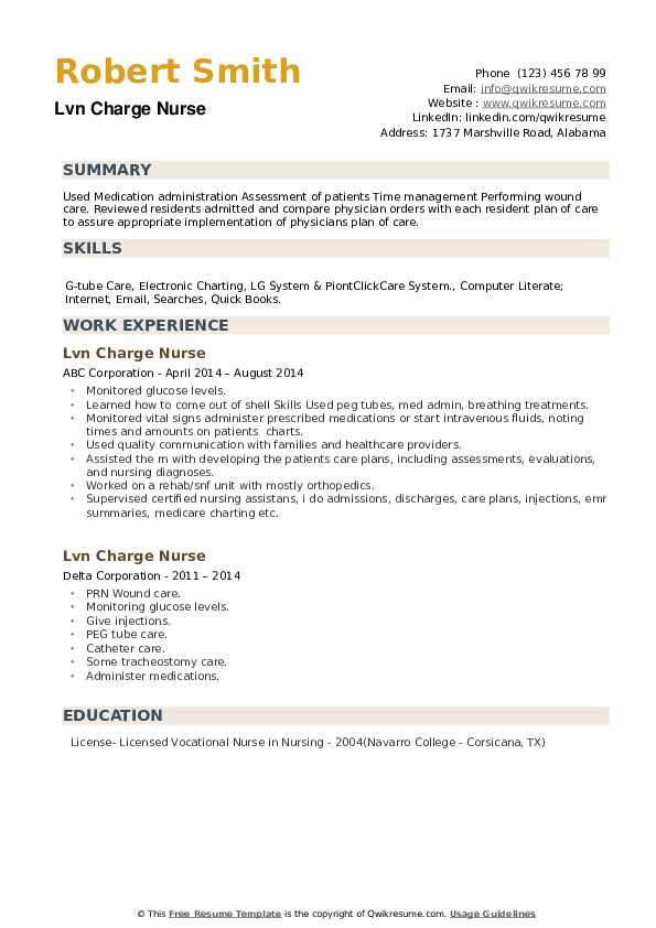 LVN Charge Nurse Resume example