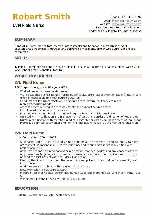 LVN Field Nurse Resume example