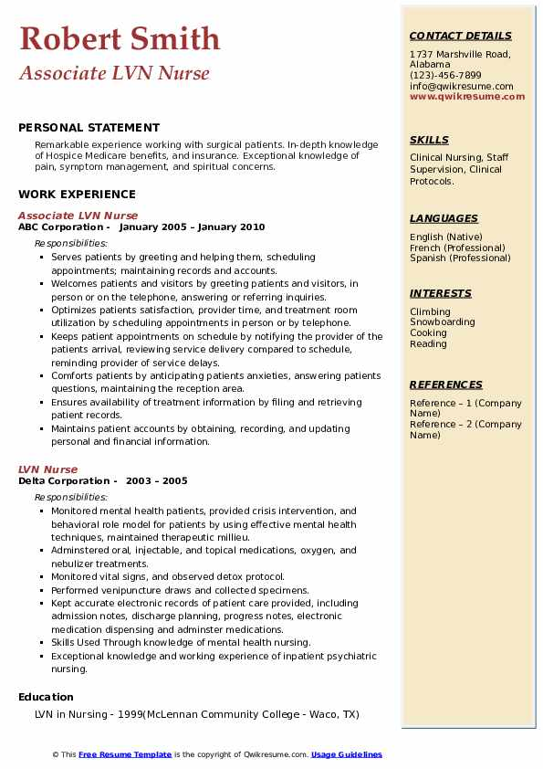LVN Nurse Resume example