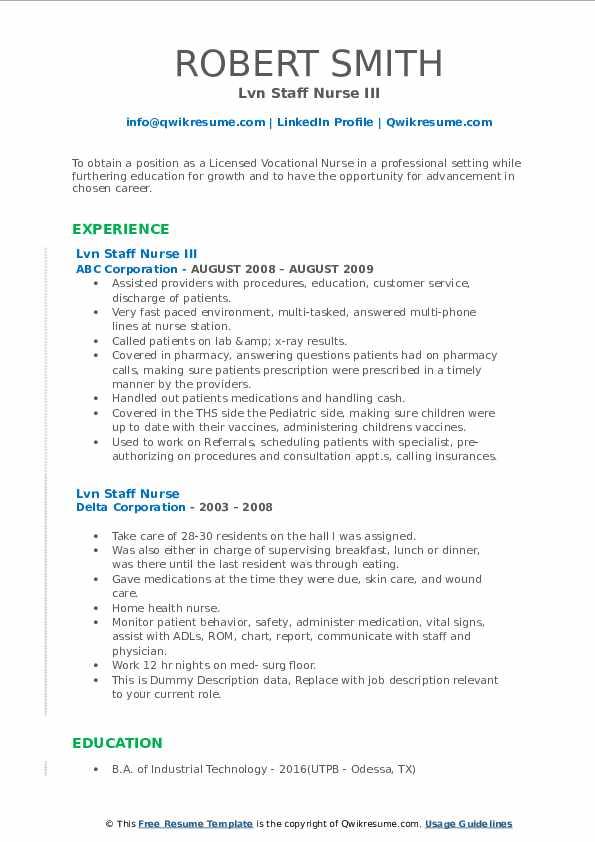 lvn staff nurse resume samples  qwikresume