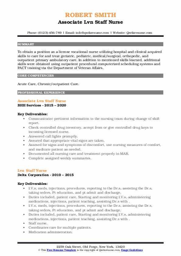lvn staff nurse resume samples