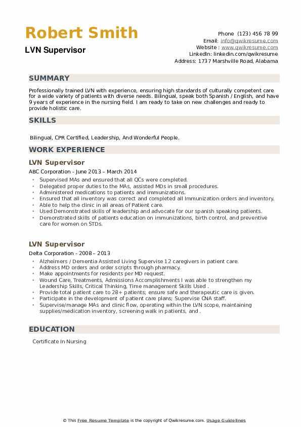 LVN Supervisor Resume example