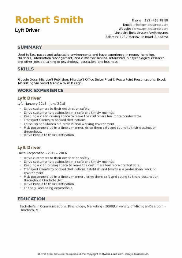 Lyft Driver Resume example