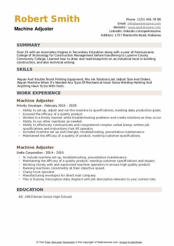 Machine Adjuster Resume example