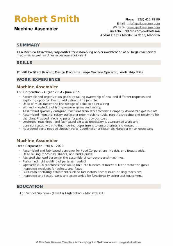 Machine Assembler Resume example