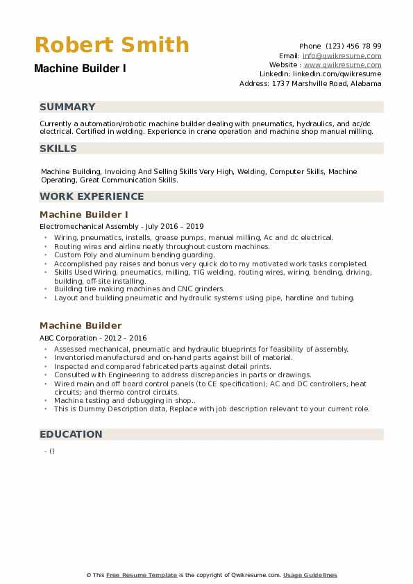 Machine Builder Resume example