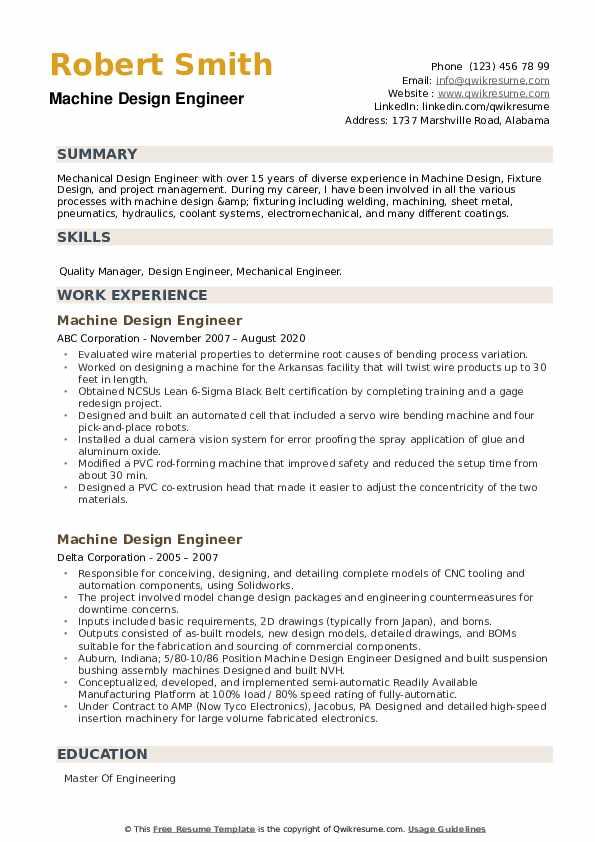 Machine Design Engineer Resume example