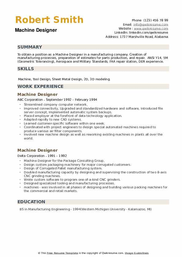 Machine Designer Resume example