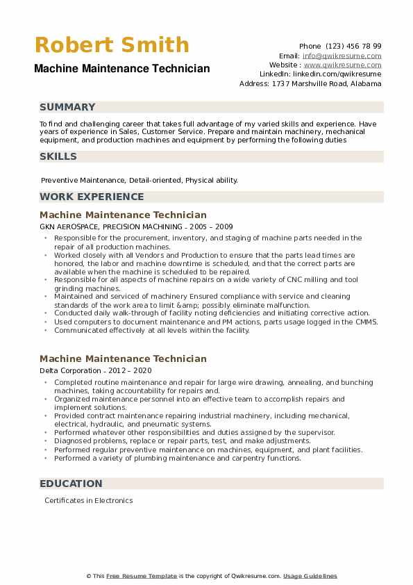 Machine Maintenance Technician Resume example
