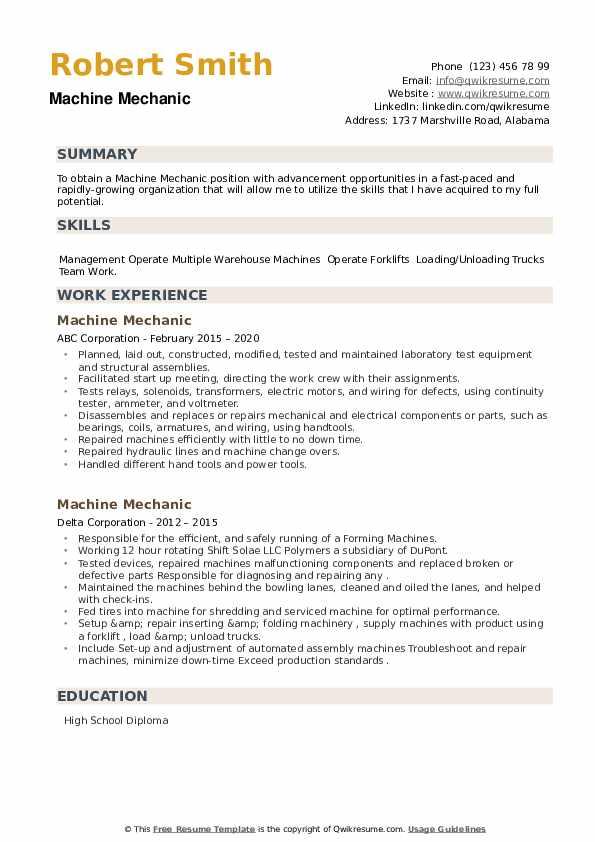 Machine Mechanic Resume example