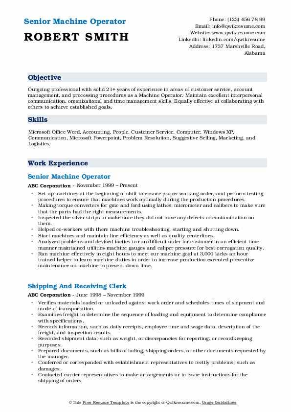 Machine Operator Resume Samples | QwikResume