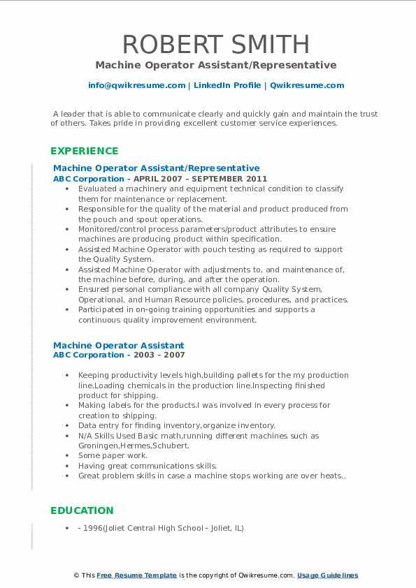 machine operator assistant resume samples  qwikresume