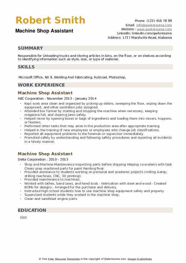 Machine Shop Assistant Resume example