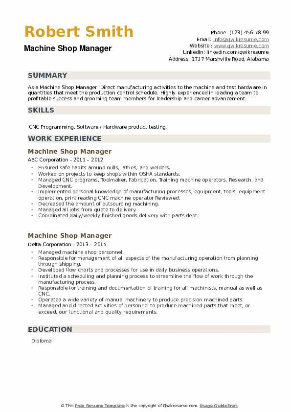 Machine Shop Manager Resume example