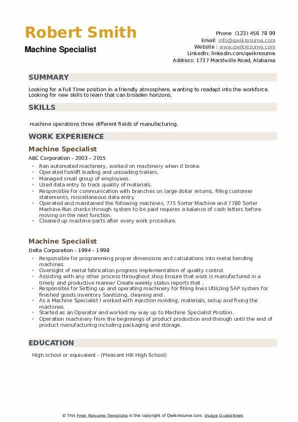 Machine Specialist Resume example
