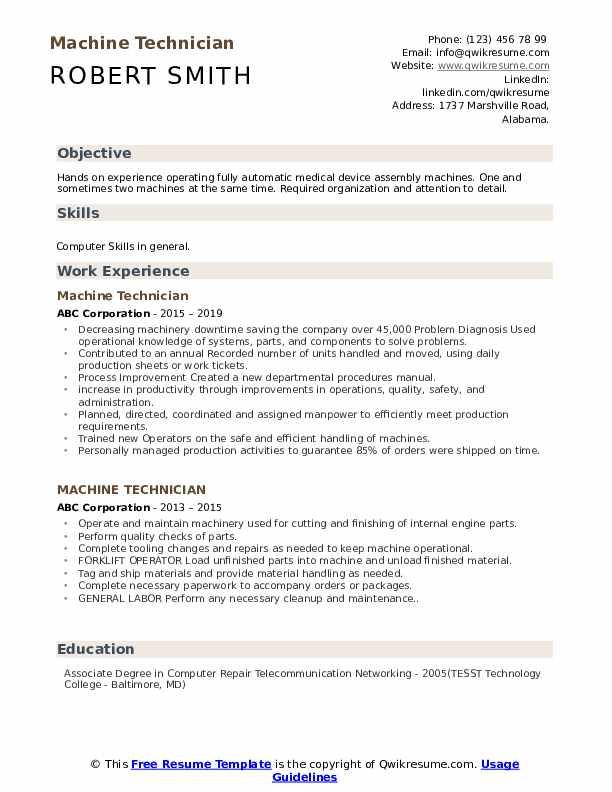 Machine Technician Resume Template