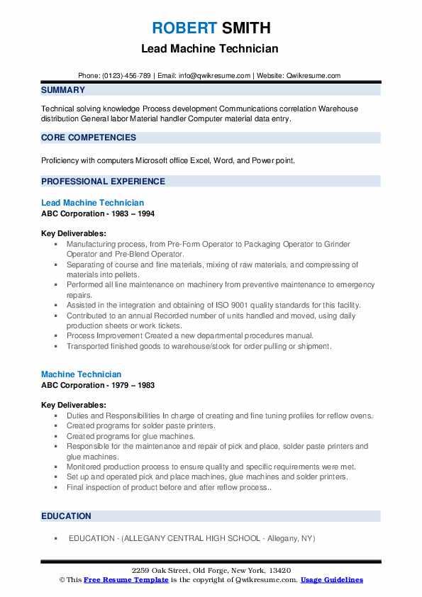 Lead Machine Technician  Resume Sample