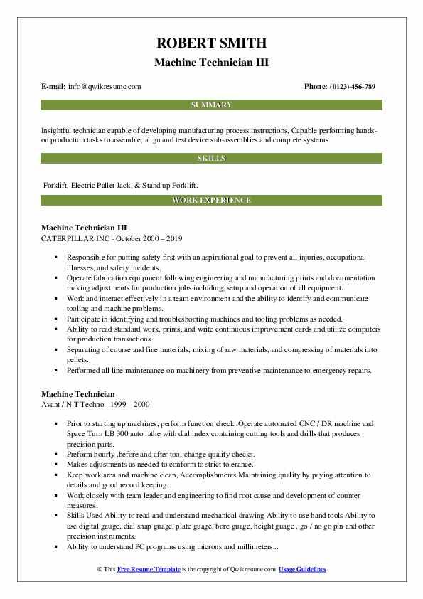 Machine Technician III Resume Example