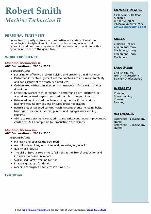 Machine Technician II Resume Example