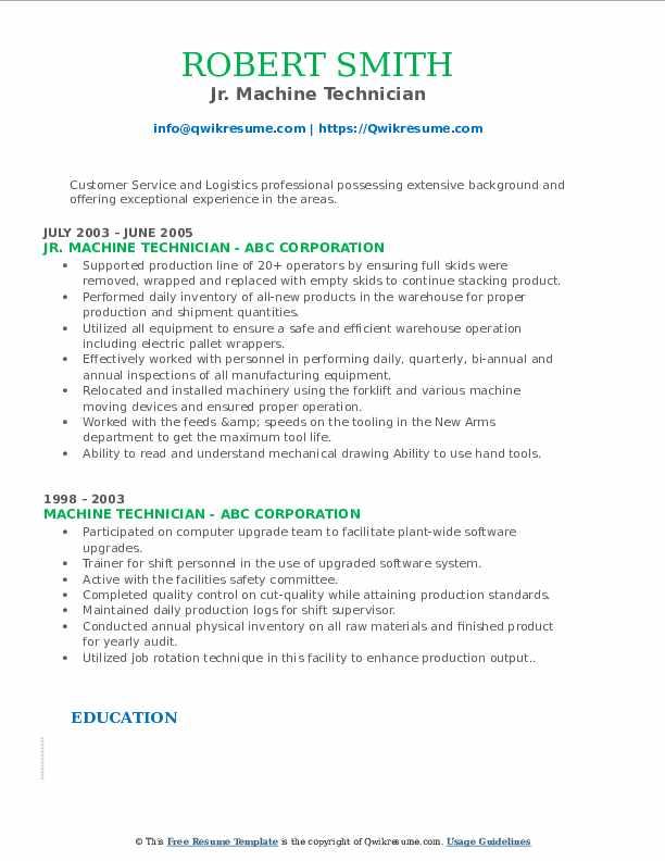 Jr. Machine Technician Resume Sample