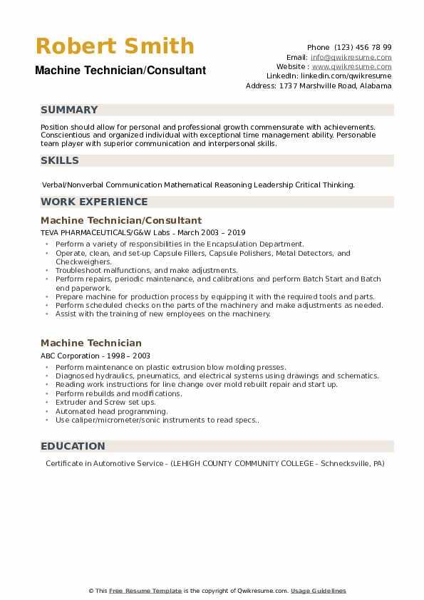 Machine Technician/Consultant Resume Model