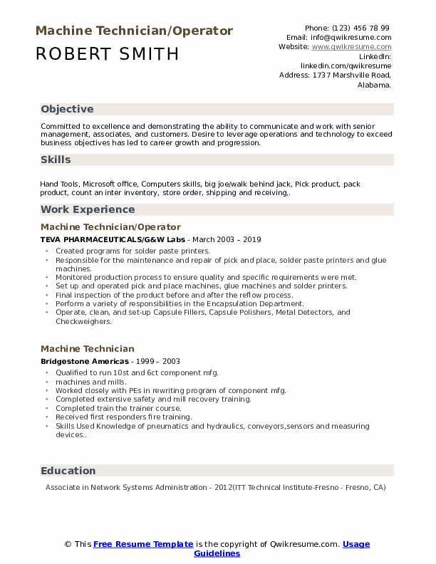 Machine Technician/Operator Resume Template