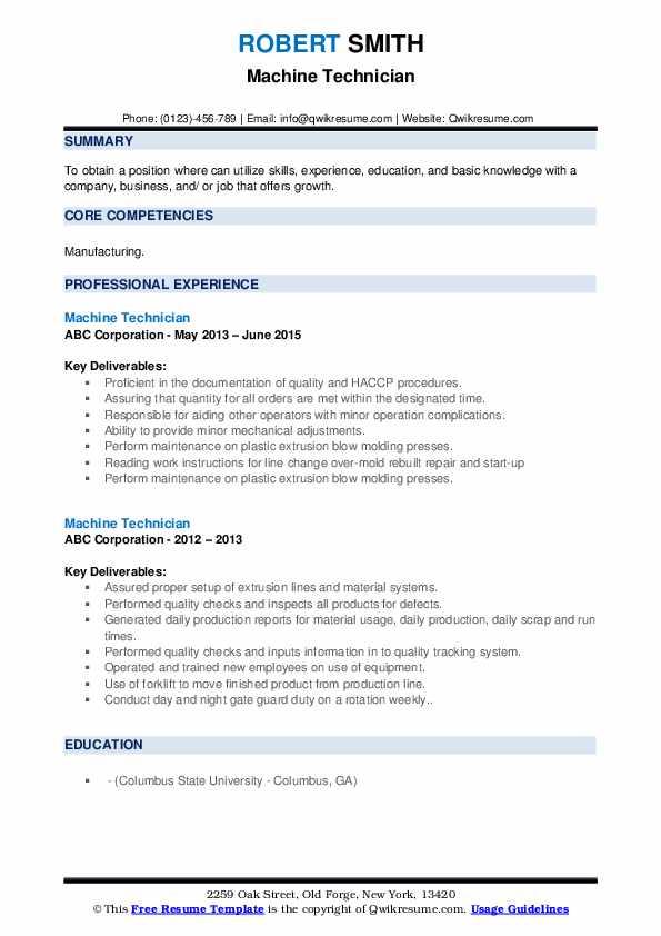 Machine Technician Resume example