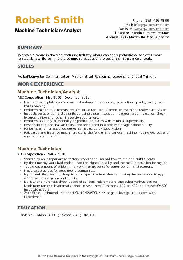 Carpet Technician Resume example