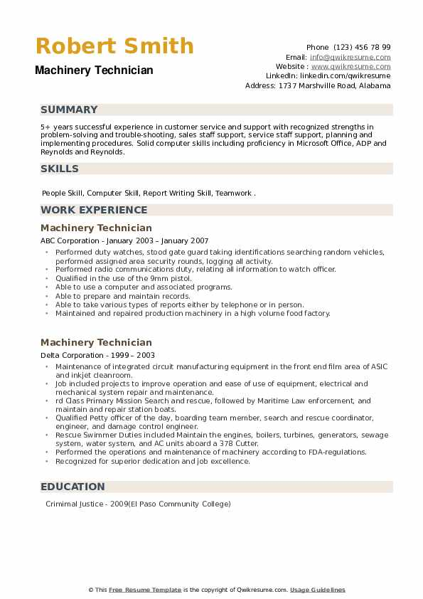 Machinery Technician Resume example