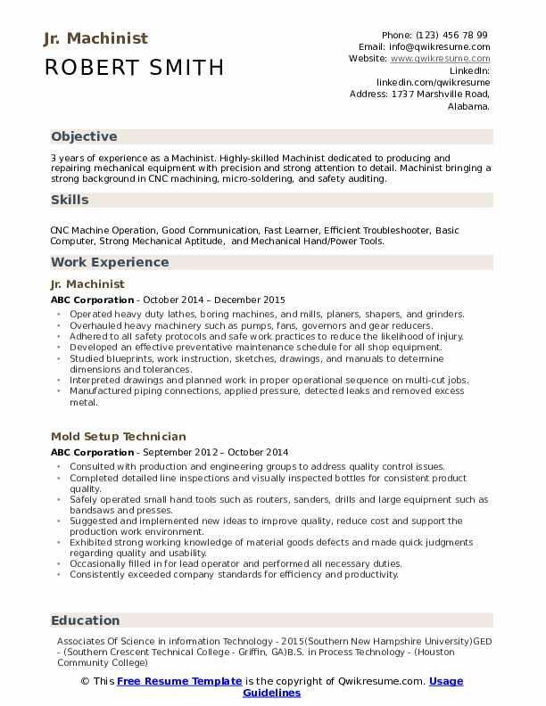 Jr. Machinist Resume Template