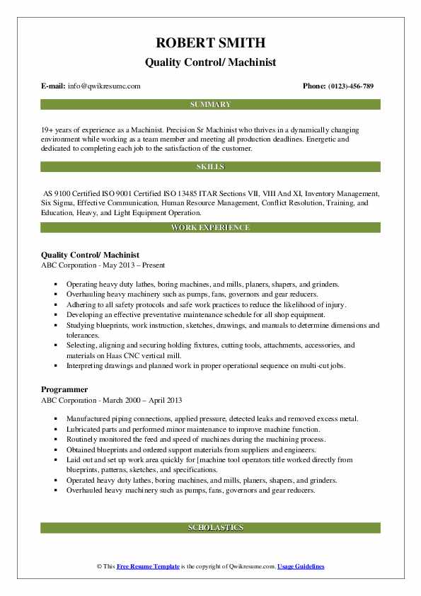 Quality Control/ Machinist Resume Example