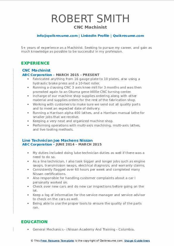 CNC Machinist Resume Model