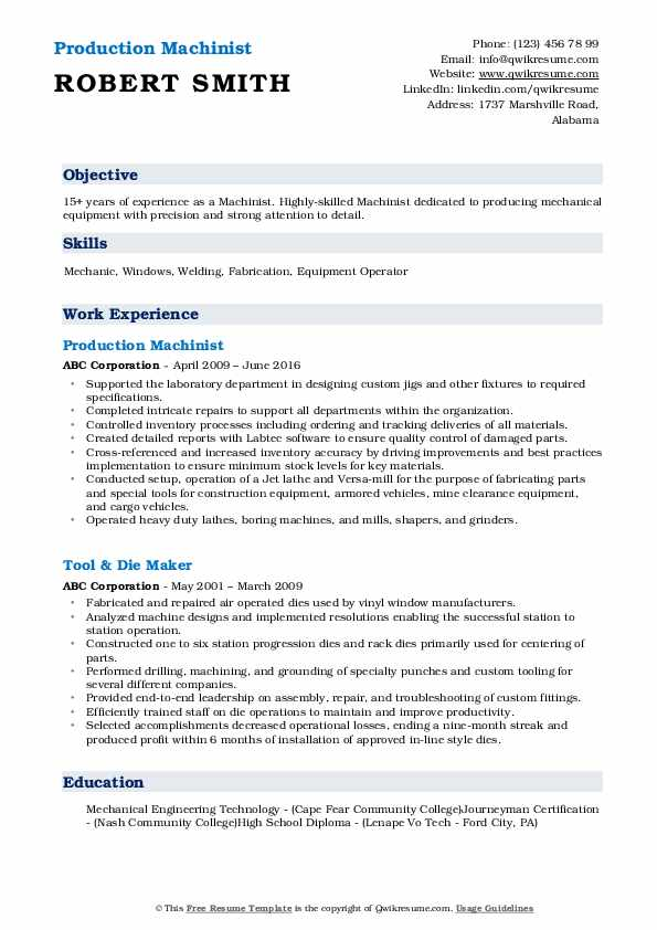 Production Machinist Resume Template