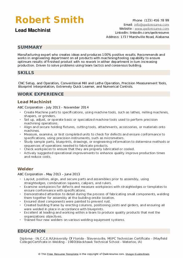 Machinist Resume example