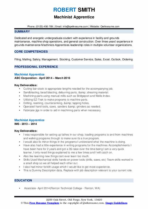 Machinist Apprentice Resume example
