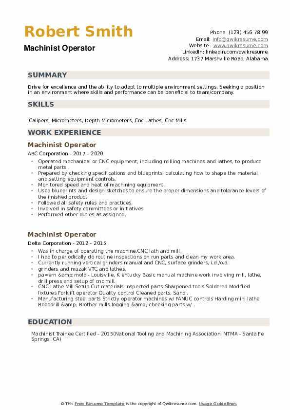 Machinist Operator Resume example