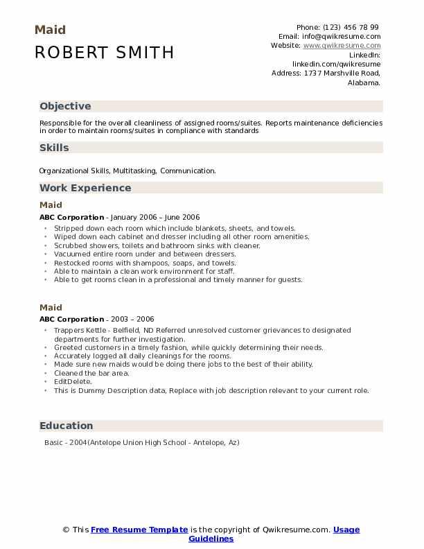 Maid Resume example