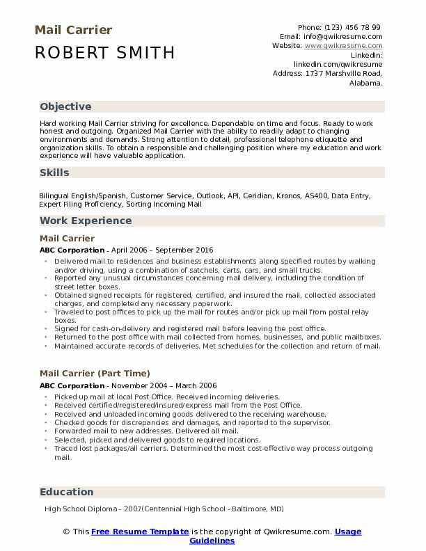 Mail Carrier Resume Format