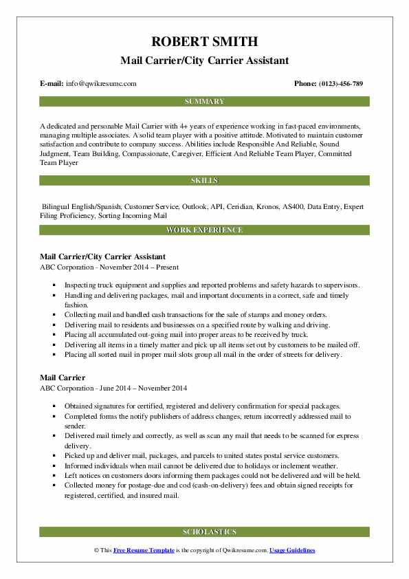 Mail Carrier/City Carrier Assistant Resume Template