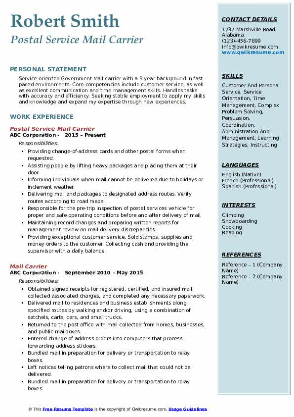 Postal Service Mail Carrier Resume Sample