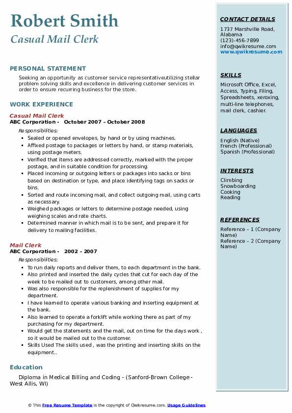 Casual Mail Clerk Resume Example