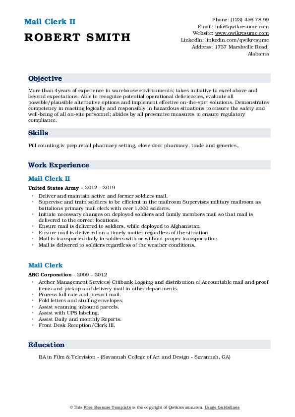 mail clerk resume samples