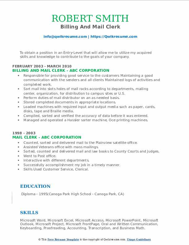 Billing And Mail Clerk Resume Format